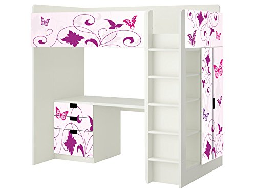 butterfly aufkleber sh06 passend f r die kinderzimmer hochbett kombination stuva von ikea. Black Bedroom Furniture Sets. Home Design Ideas