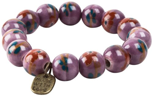 Peppercorn Kids Girls' Vintage Floral Bead Bracelet-Purple - Purple - One Size