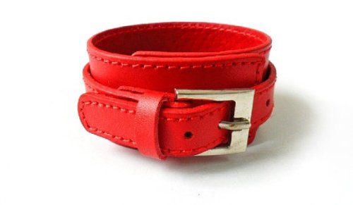 Red Soft Leather Bracelet Cuff Double Buckle Mens Bracelst Women Bracelet Unisex Bracelet Fashion Bracelet S-5