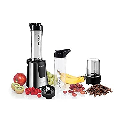 Ergo Chef My Juicer II Personal Juicer Smoothie Blender with Extra Sports Bottle and Grinder Assembly, coffee bean grinder, flax seed, chia seeds and more.