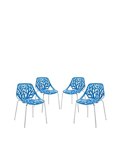 Modway Set of 4 Stencil Dining Side Chairs, Blue
