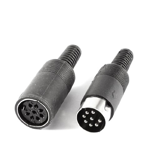 uxcell Pair Black DIN 8 Pin Female + Male Plug Socket Audio AV Connector (8 Pin Din Plug compare prices)