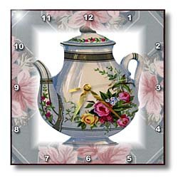 Amazon.com - 3dRose dpp_37380_1 Victorian Flower Teapot on Blue/Pink