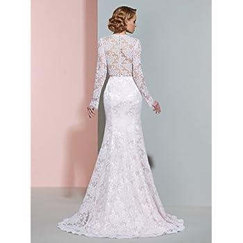 CLOCOLOR Women's Sheer Long Sleeve Deep V Neck Mermaid Vintage Lace Wedding Dress