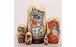 Matryoshka 5pcs Zhuzha the Cat Wooden Russian Nesting Dolls. Gift Matreshka, Handmade Babushka Doll