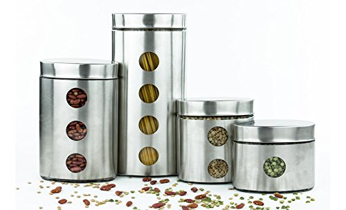 Imperial Home Mw1200 Stainless Steel Glass 4 Pieces Oval Canister Set With Air Tight Lids