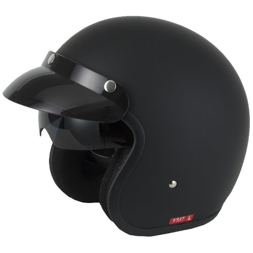 Vcan V537 Open Face Motorcycle Helmet L Matt Black