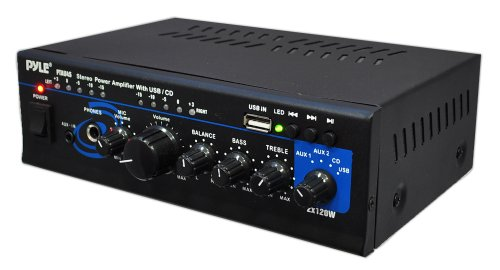 Pyle Home Ptau45 Mini 2X120 Watt Max Stereo Power Amplifier With Usb/Cd/Aux Inputs