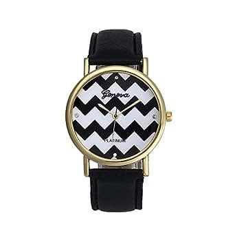 Yoyorule Stripes Watch PU Leather Woman Man Quartz Wrist Watches