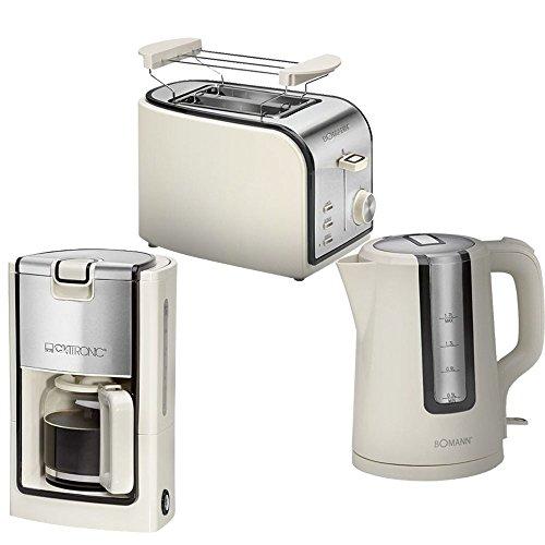 Edelstahl Frühstücks Küchen Set Kaffeemaschine Wasserkocher Toaster creme