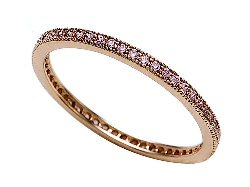 0.58 cttw Zoe R(tm) Rose Gold Plated Sterling Silver Micro Pave Hand Set Cubic Zirconia (CZ) Stackable Eternity Band Size 7