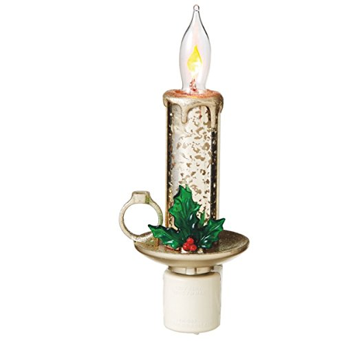 "7"" Champagne Gold Mercury Glass Style Candle with Glittered Holly Christmas Night Light"
