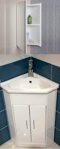 White Compact Corner Vanity Unit Bathroom Furniture Sink Cabinet Ceramic 570 X 400, Tap & Mirror Cabinet