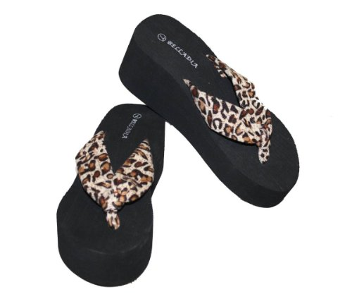 Women Casual Beach Platform Wedge Thong Sandal With Leopard Print Straps-Tan_7