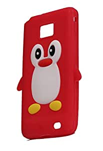 Penguin Silicone Jelly Back Case Cover for Samsung Galaxy S2 I9100 red