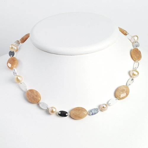Sterling Silver Moonstone/Peach & Pink Cultured Pearl Necklace