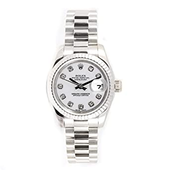 Rolex Ladys President New Style Heavy Band 18k White Gold Model 179179 Fluted Bezel White Diamond Dial