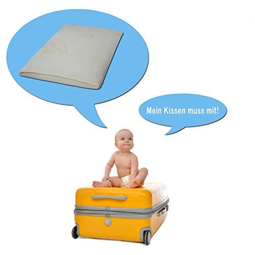 Orthopädisches Soft Care Babykissen, Kinder-Reisekissen aus viscoelastischem Gelschaum, Flachkissen 50x30x6cm -