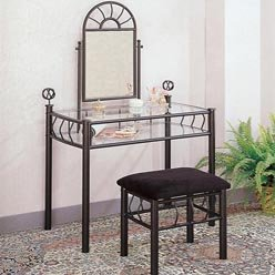Vanity Table - Wrought Iron Vanity - vanity; metal vanity table; makeup vanit...