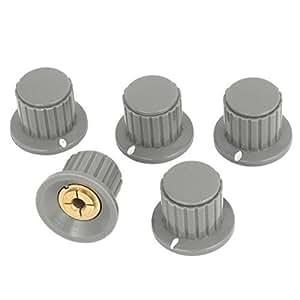 5pcs Volume Control 4mm Split Shaft Dia Potentiometer Mixer Knobs Gray