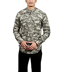 Fadjuice Men's Shirt (Fj44243S_Green Yellow Brown Gray_Small)
