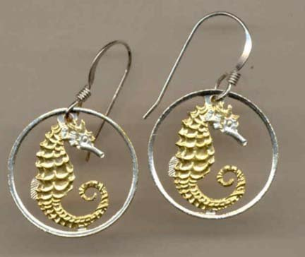 Singapore 10 Cent ÒSea HorseÓ Two Toned Coin Cut Out Earrings