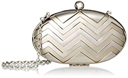 La Regale Metal Cage Clutch, Light Bronze/Silver, One Size