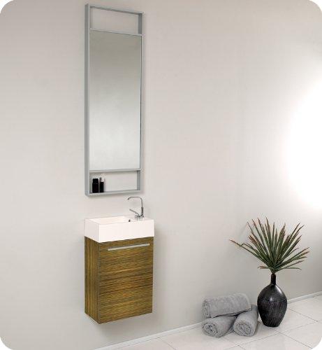 Fresca Pulito Small Zebra Modern Bathroom Vanity w/Tall Mirror