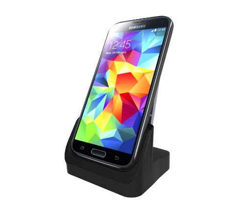 Irainy Desktop Usb Charger Cradle Stand Holder Sync Date Charge Dock Station With Spare Battery Charging Slot For Samsung Galaxy S5 Sv I9600