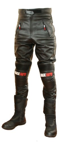 MAX MPH ULTIMATE Leather Motorcycle, Biker Trousers / Jeans - removable CE armour