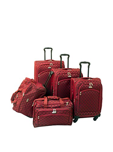 American Flyer Madrid 5-Piece Spinner Luggage Set, Red