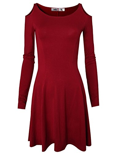 Tom's Ware Women's Casual Slim Fit and Flare Round Neckline Dress TWCWD052-D069-RED-US M/L