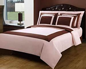 Blush and Chocolate Hotel 4pc Twin / Twin XL Comforter Set 100 % Egyptian Cotton 300 TC