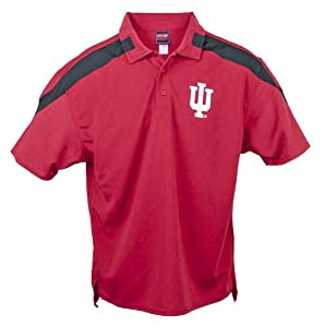 Indiana Hoosiers Genuine Stuff Red Color Insert Performance Polo (Size Large) by Genuine Stuff