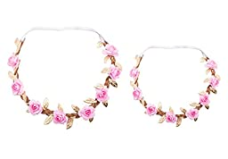Love Sweety Fashion Baby Leaf Headband Hair Bands FD5 (Pink-2pc)