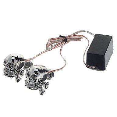 Commoon Diy Motorcycle Decoration Skull Led Red&Blue Strobe Light With Strobe Control Box(2 Pieces)