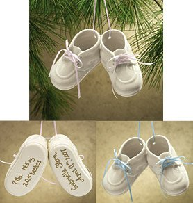 Babys First Christmas Ornaments - Baby Booties Ornament , Blue