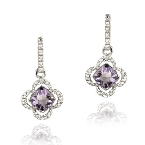 Sterling Silver Amethyst & Diamond Accent Flower Dangle Earrings