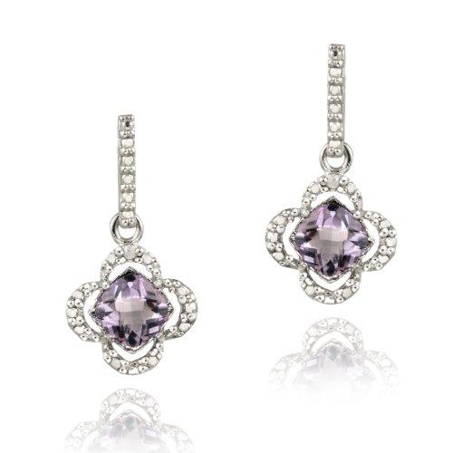 Sterling Silver Amethyst & Diamond Accent Flower Dangle Earrings