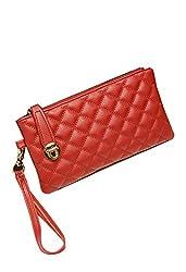 Di Grazia European Quilted Italian PU Leather Women's Long Wallet Clutch - Red