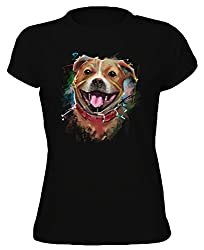 The Groovy Art - Staffordshire Bull Terrier Dog Painting - Womens T-Shirt