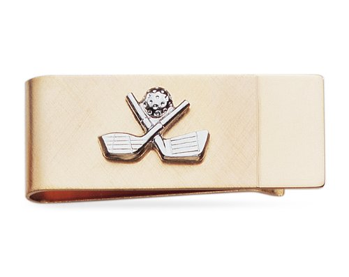 Golf Two Toned Gold Plated Money Clip