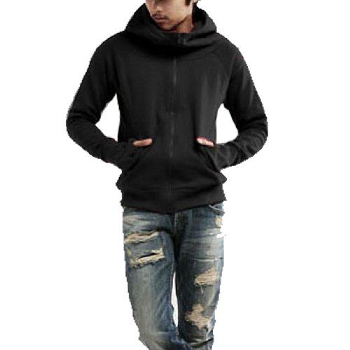 Men Fleece Lined Long Sleeve Zip up Hooded Sweatshirt Black S