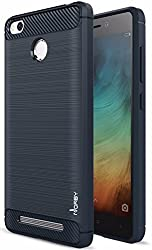 Norby Rugged Armor Shock Proof Back Cover Case With Advanced Resilient Shock Absorption and Carbon Fiber Design For Xiaomi Redmi 3s Prime(with fingerprint scanner hole)-Dark Blue