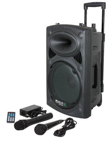 Ibiza-Port8VHF-N-DJ-PA-Karaoke-Anlage-mobile-PA-Box-Lautsprecherbox-Akku-Betrieb-Trolley-Mp3-fhige-USB-SD-Slots-400W-Fernbedienung-2x-Mikrofon-schwarz