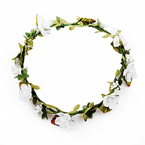Dreamlily Women's Flower Festival Wedding Hair Wreath BOHO Floral Headband BC09(White)