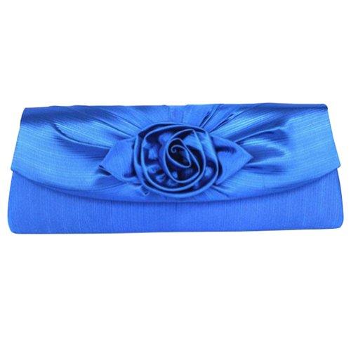 Cy Ladies'Noble Flower Print Silk Chic Banquet Dress Clutch Bag Royal Blue