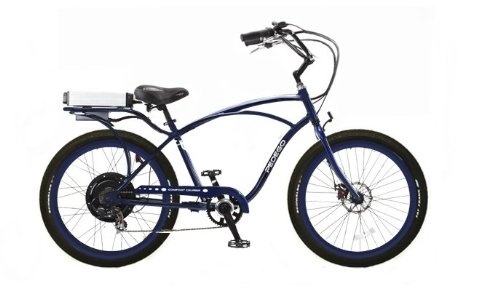 Pedego Blue Comfort Cruiser Classic Electric Bike with Blue Rims and Black BalloonTires