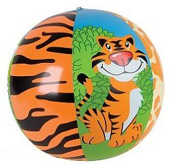 "~ 3 ~ Zoo Animal Beach Balls ~ 16"" Before Inflated ~ New ~ Zebra, Tiger, Giraffe, Safari Animal Party Favors, Jungle Animals, Wild Animals - 1"