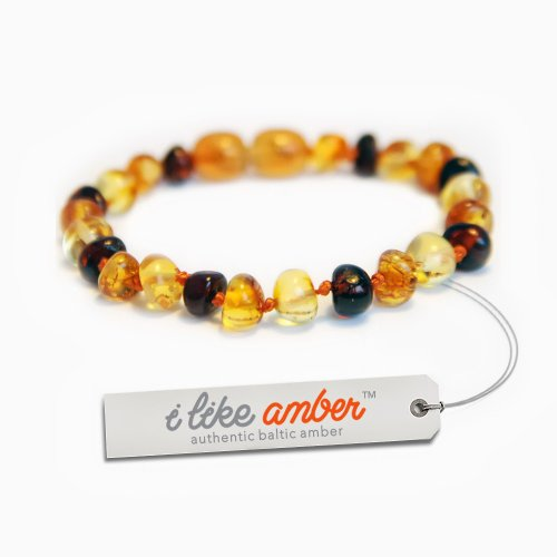Amber Teething Anklet Bracelet - Baby Child size from 14 to 18 cm - 100% Genuine Baltic Amber - Top Quality on Amazon + Free Organza Gift Bag